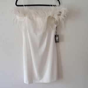 Vince Camuto Pff White Feather Mini Dress